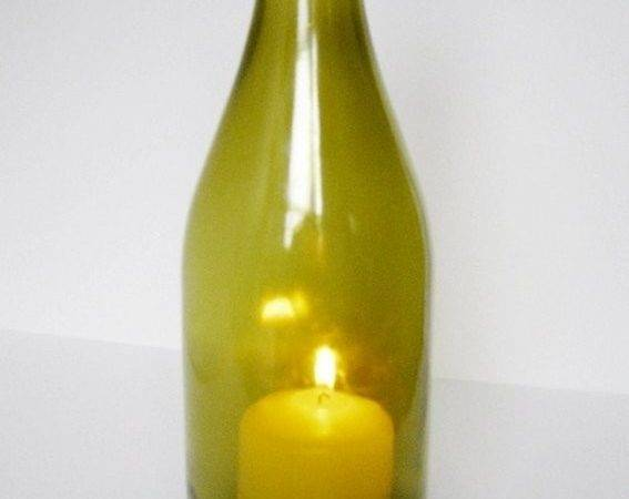 Made Wine Bottle Hurricane Candle Lantern Lover Gift