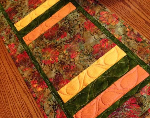 Magenta Gold Olive Batik Table Runner Derstinedesigns Etsy