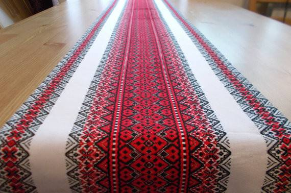 Magenta Table Runner Linen Ukrainian Ethnic