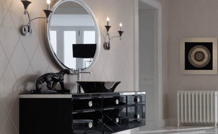 Majestic Black Lacquered Glass High End Italian Bathroom Vanities