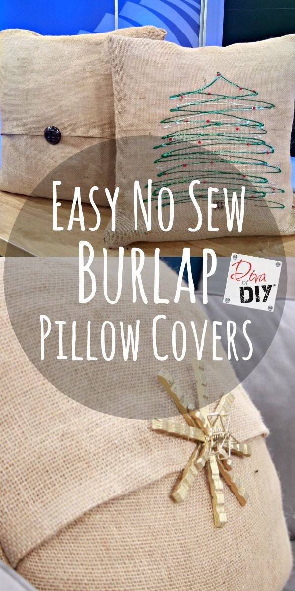 Make Easy Sew Burlap Pillow Covers Diva Diy