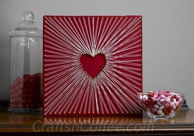 Make Easy String Art Valentine Day