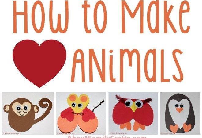 Make Paper Heart Animals Crafts