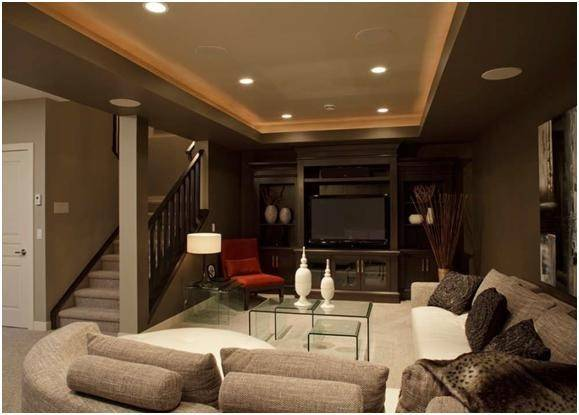 Man Cave Dark Brown Gray Walls Red Accents Sectional