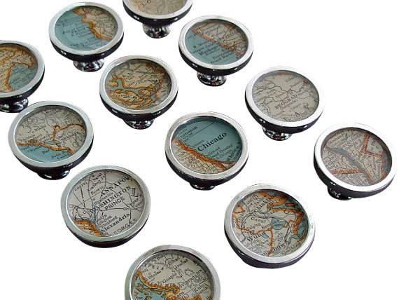 Map Drawer Pulls Handles Cabinet Knobs Custom Cities Vintage Atlas