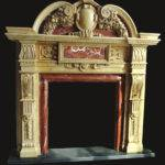 Marble Mantel Red Ornate Fireplace