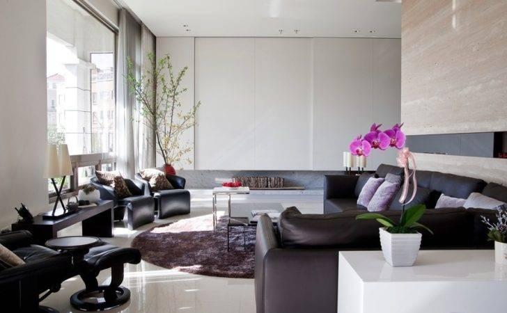 Marble Walls Floor Elegant Contemporary Living Room