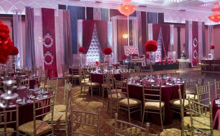 Maroon Silver Chrome Wedding Reception Gps Decors