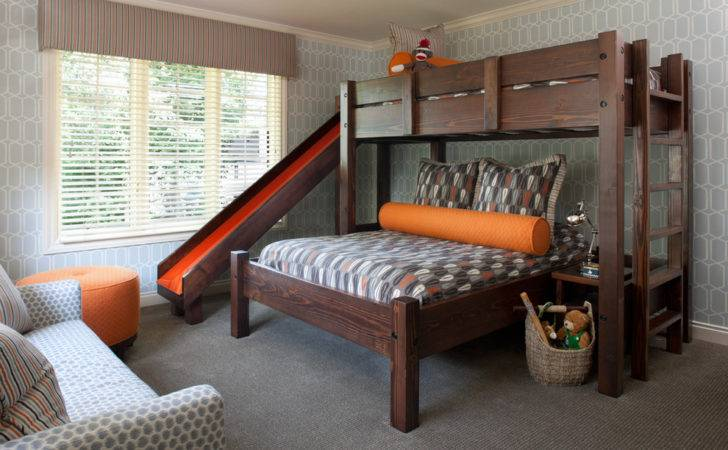 Marvelous Bunk Beds Slide Kids Transitional Wood Bed Next