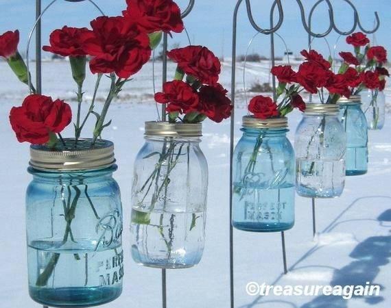 Mason Jar Hanging Flower Frog Lids Flowers