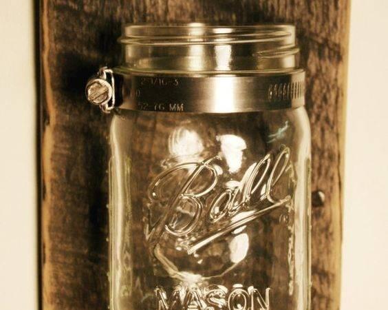 Mason Jar Mounted Recycled Wood Pineknobsandcrickets