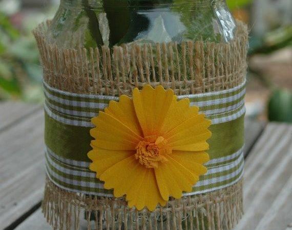 Mason Jar Wrapped Burlap Green Pineknobsandcrickets