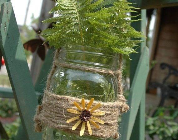 Mason Jar Wrapped Jute Bright Pineknobsandcrickets