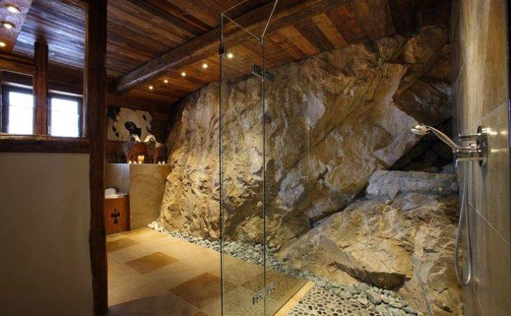 Massive Stone Shower Luxury Val Chalet Rustic Design