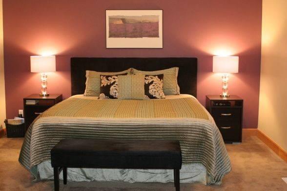 Master Bedroom Deep Purple Accent Wall Always Kiss Goodnight