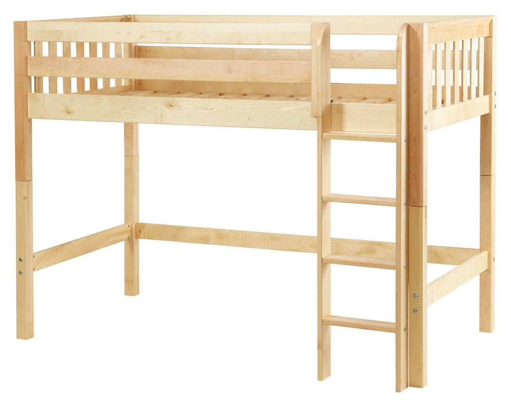 Maxtrix Mid Height Loft Bed Straight Ladder Twin