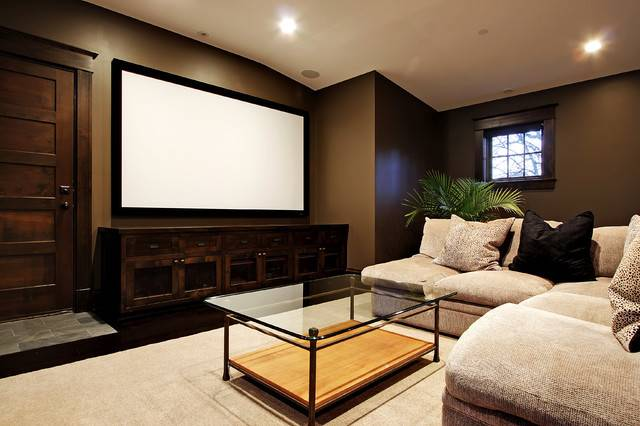 Media Room Contemporary Home Theater