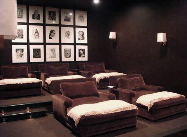 Media Room Design Chocolate Brown Velvet Interior Ideas