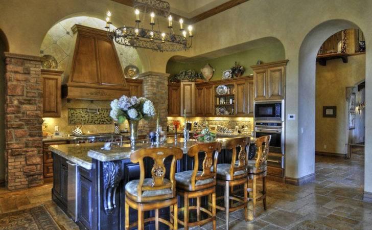 Mediterranean Kitchen Medieval Style Chandelier Dining Island