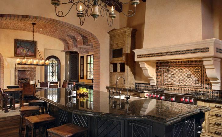 Mediterranean Kitchen Open Dining Room