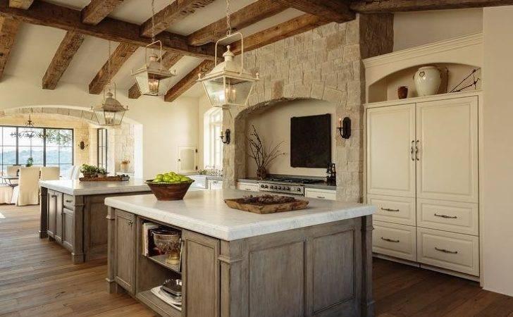 Mediterranean Kitchen Rustic Wood Ceiling Beams