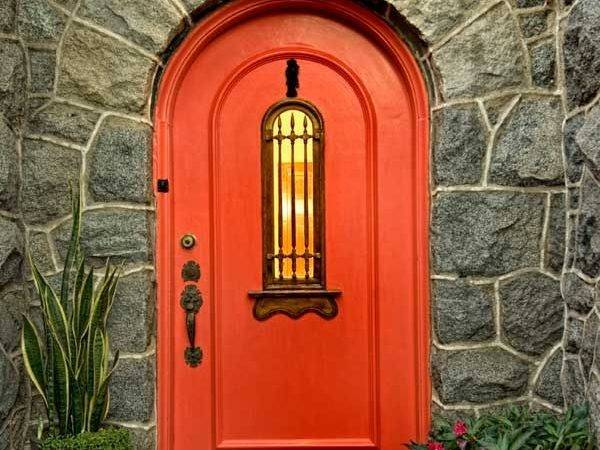Mediterranean Style Front Door Painted Southwest Red
