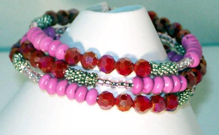 Memory Wire Bracelet Fuschia Turquoise Beads Swarovski
