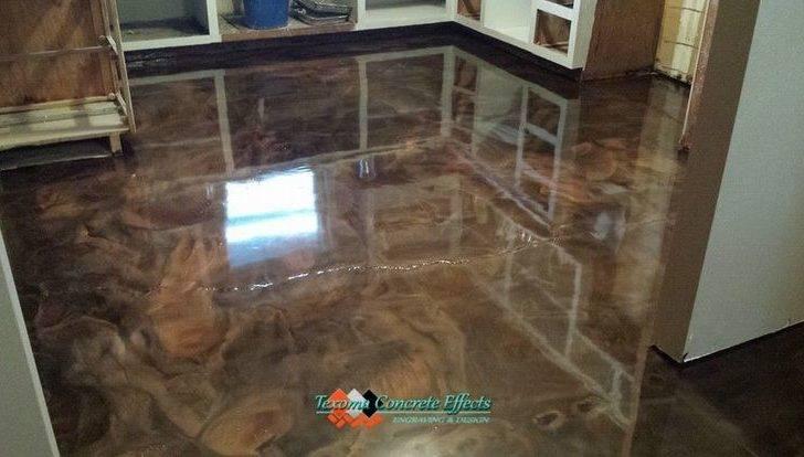 Metallic Epoxy Kitchen Floor Tri Color Texoma Concrete Effects