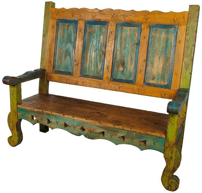 Mexican Painted Wood Captain Bench Our Collection Unique Rustic