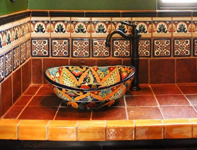Mexican Tile Mediterranean Bathroom Austin Clay Imports