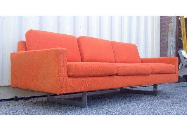 Mid Century Modern Bright Orange Sofa Chairish