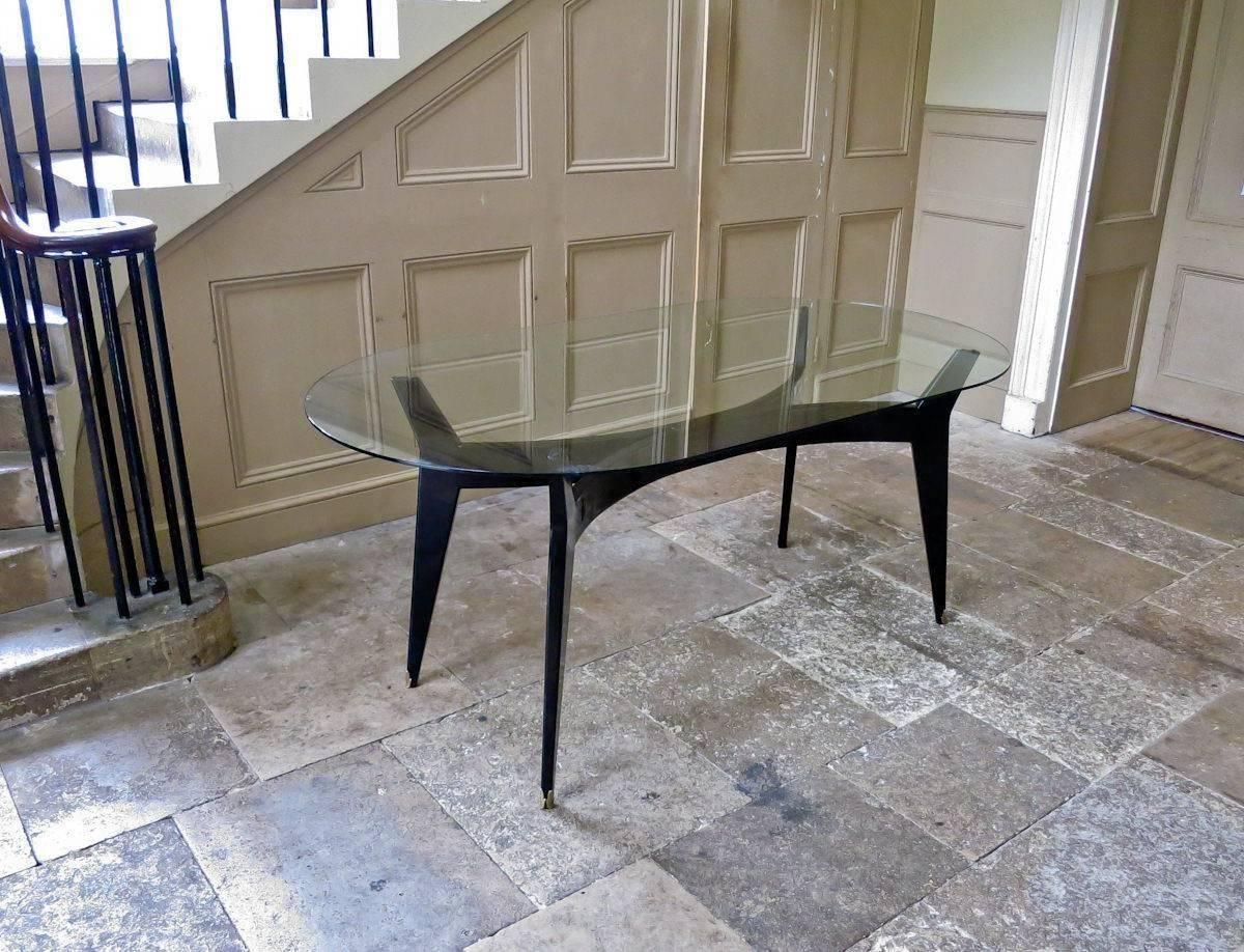 Mid Century Modern Italian Glass Top Dining Table Ebonized Base