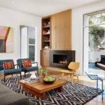 Mid Century Modern Living Room Fireplace Window Treatments Dining
