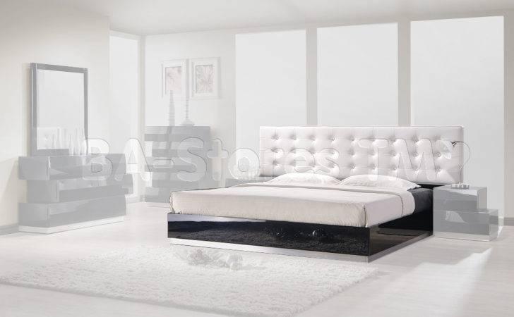 Milan Black Bed White Leatherette Headboard Beds Sku