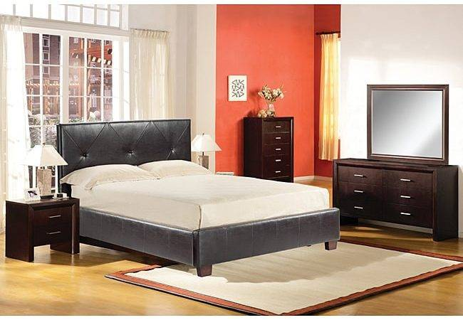 Milan Leather Queen Platform Bed Shipping Today