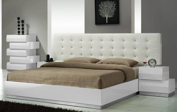 Milan Modern White Platform Bed Tufted Headboard