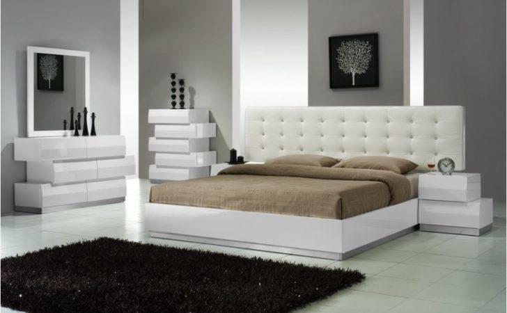 Milan Zigzag Design Modern White Platform Queen King Bedroom Set