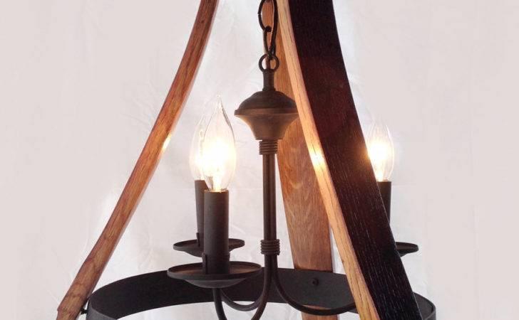 Mini Wine Barrel Chandelier Recycled Oak Staves Hoop Pendant Light