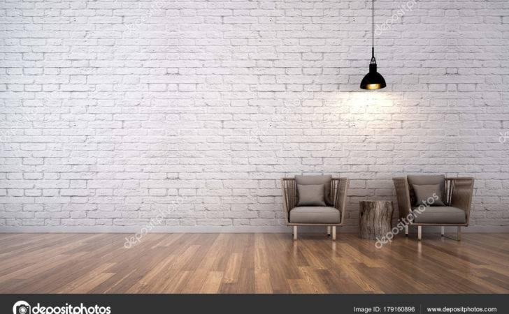 Minimal Living Room Interior Design Brick Wall Pattern