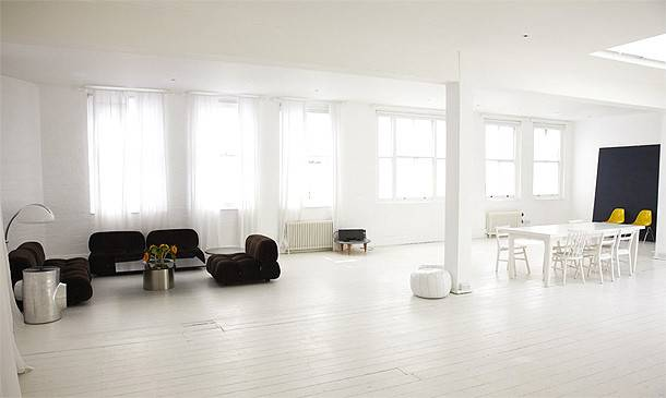 Minimal White Loft Studio Apartment London