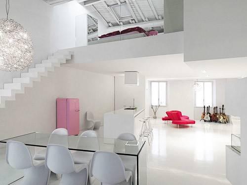 Minimalist Modern Loft Interior Design White Color Theme