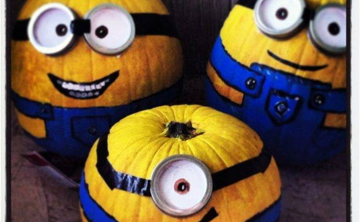 Minion Pumpkins Painted Year All Hallows Eve Pinterest