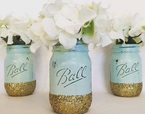 Mint Gold Glitter Mason Jar Jars