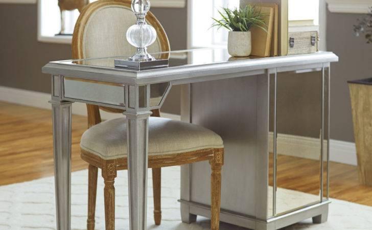 Mirrored Desk Table Design Ideas Come Cabinet Base