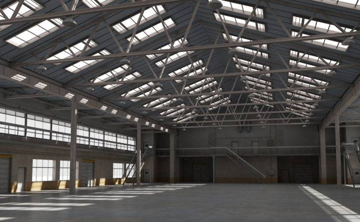 Model Warehouse Interior Exterior Scene