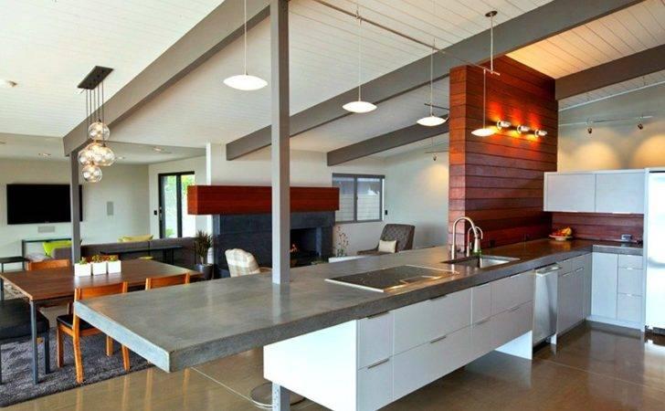 Modern Aesthetic Concrete Countertops Steel Beams Pairing