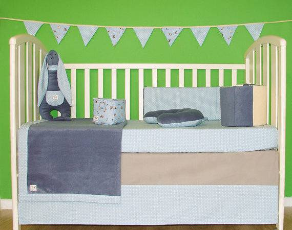 Modern Baby Bedding Set Unisex Crib Includes Bumper