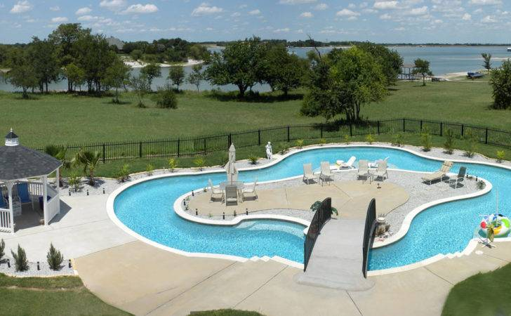 Modern Backyard Lazy River Pool Lounge Area Middle
