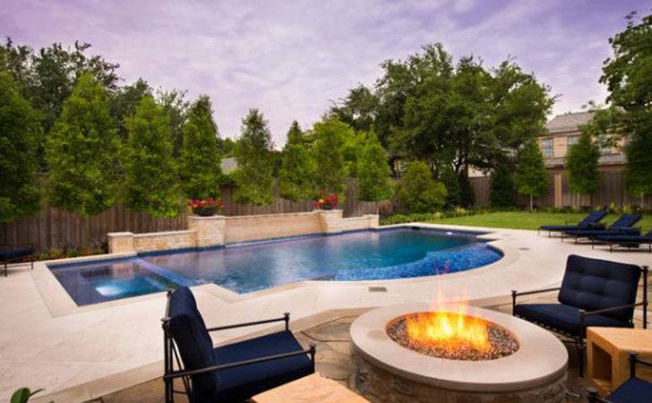 Modern Backyard Pool Fireplace Interior Design Architecture