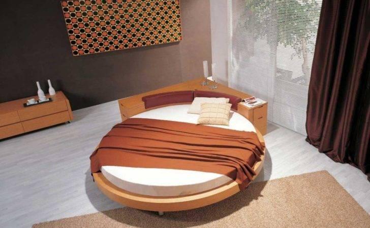 Modern Bedroom Design Round Bed White Linen Brown